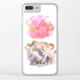 Watercolor Pink Black Gold Flow | [dec-connect] 36. staging Clear iPhone Case