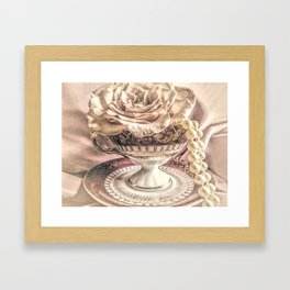 Rose Pearls Teacup Still Life Modern Cottage Chic Decor Art Matted Picture A466 Framed Art Print