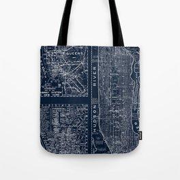 Vintage New York City Street Map Tote Bag