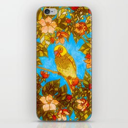Colourful Yellow Parakeet In Flowery Wreath iPhone Skin
