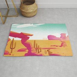 Desert Gaze Kitschy Vintage Watercolor in Mid Century Style Rug