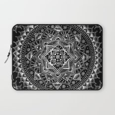 White Flower Mandala on Black Laptop Sleeve