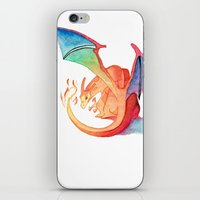charizard iPhone & iPod Skins featuring Charizard by Natalie Huber