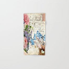 Vintage Postcard with Bluebirds Hand & Bath Towel