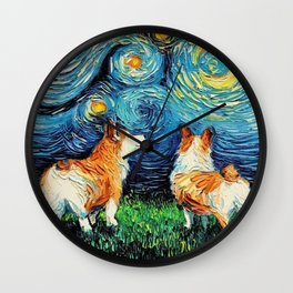 Corgi in Starry Night Wall Clock