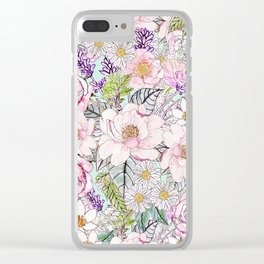 Watercolor garden peonies floral hand paint Clear iPhone Case