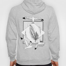 Seagulls with feathers - Ink artwork Hoody