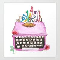 typewriter Art Prints featuring typeWriter  by Watercolor_2011