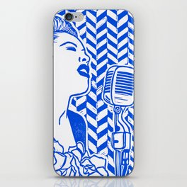 Lady Day (Billie Holiday block print) iPhone Skin