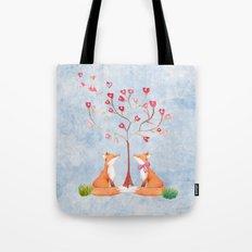 Fox love- foxes animal nature _ Watercolor illustration Tote Bag