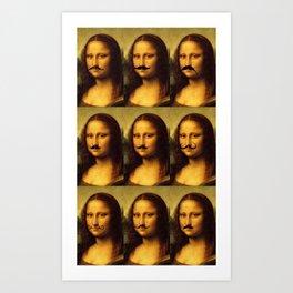 Mona Lisa Mustache Mania Art Print