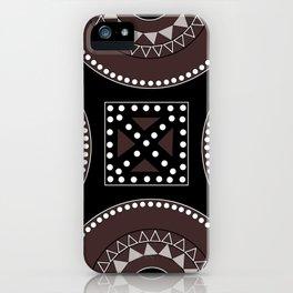 African tribal geometric decor, black, brown, white. iPhone Case