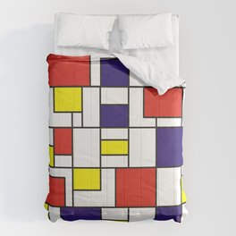 Homage to Mondrian in red blue and yellow Comforters