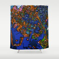 maps Shower Curtains featuring Funky Maps, NEW YORK by MehrFarbeimLeben