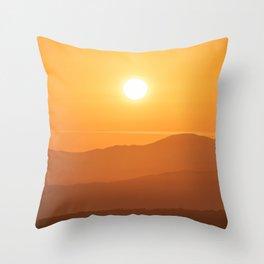 Winter sunrise, orange sky over mountains Throw Pillow