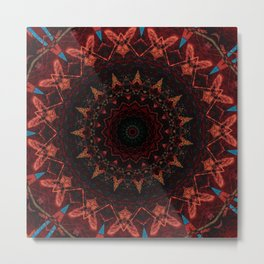 Distressed Red Orange Sepia Mandala Design Metal Print
