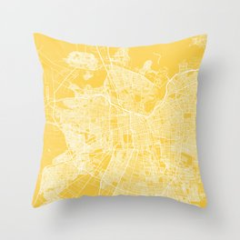 Santiago map yellow Throw Pillow