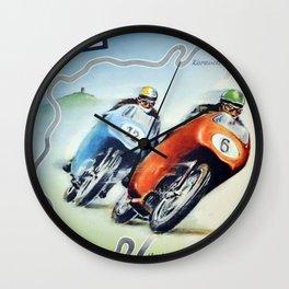 Nurburgring German Motorcycle Road Race Vintage Poster, Circa 1955 Wall Clock