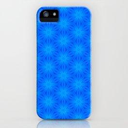 Bright blue on blue star pattern design iPhone Case