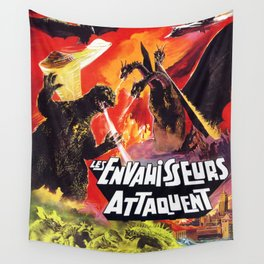 Destroy All Monsters - 1968 Vintage Movie Poster Wall Tapestry