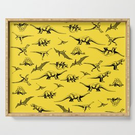 Dinosaurs on yellow background Serving Tray