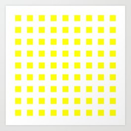 square and tartan 50- yellow Art Print