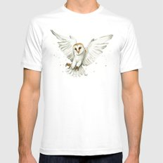 Barn Owl Flying Watercolor | Wildlife Animals Mens Fitted Tee White MEDIUM