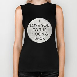 Love You to the Moon and Back - Navy Blue Biker Tank