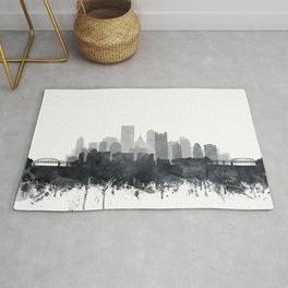 Pittsburgh Skyline Black & White Watercolor by Zouzounio Art Rug