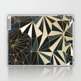 New Art Deco Geometric Pattern - Emerald green and Gold Laptop & iPad Skin