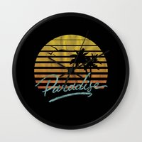 paradise Wall Clocks featuring Paradise by Anthony Troester