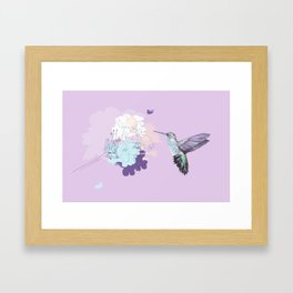 Lavender hummingbird and flower watercolor Framed Art Print