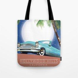 Hollywood Hills California travel poster, Tote Bag