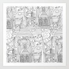 doodle cartoon village Art Print