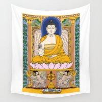 buddha Wall Tapestries featuring Buddha by Panda Cool