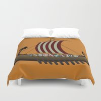 vikings Duvet Covers featuring Vikings by mangulica