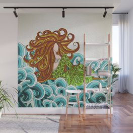 Mermaid Waves Wall Mural