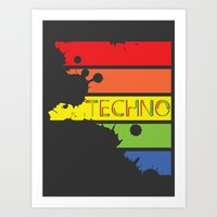 techno Art Prints featuring Techno by Adnan Kostic