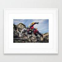 gurren lagann Framed Art Prints featuring gurren battle by romar