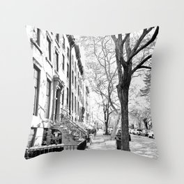Cobble Hill Brooklyn Winter Black and White Brownstone Throw Pillow