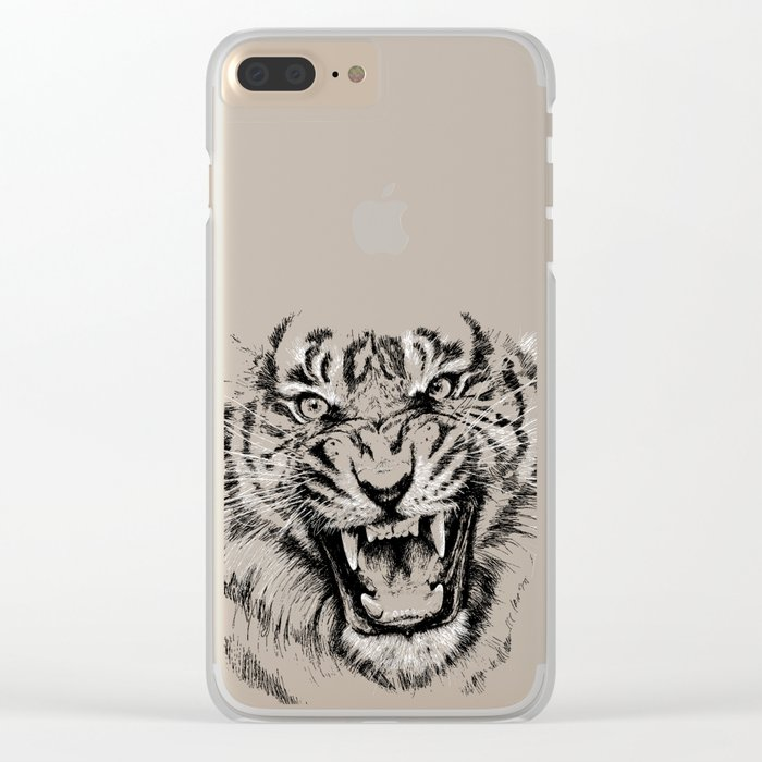 Tiger Portrait Animal Design Clear iPhone Case