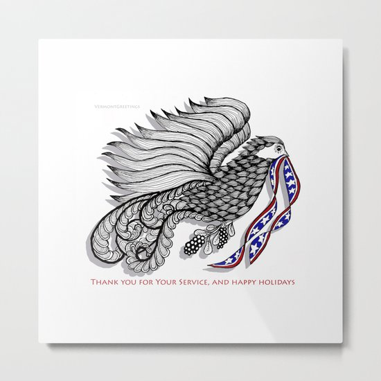 Veterans Happy Holiday and Thank You for Your Service - Zentangle Illustration Metal Print