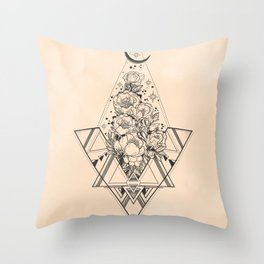 Desert Geometric Roses Coral Throw Pillow