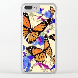 YELLOW MONARCH BUTTERFLY GARDEN & BLUE MORNING GLORIES ART Clear iPhone Case