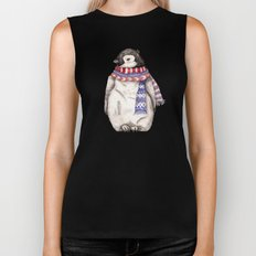 Baby Penguin in Red and Blue Scarf. Winter Season Biker Tank
