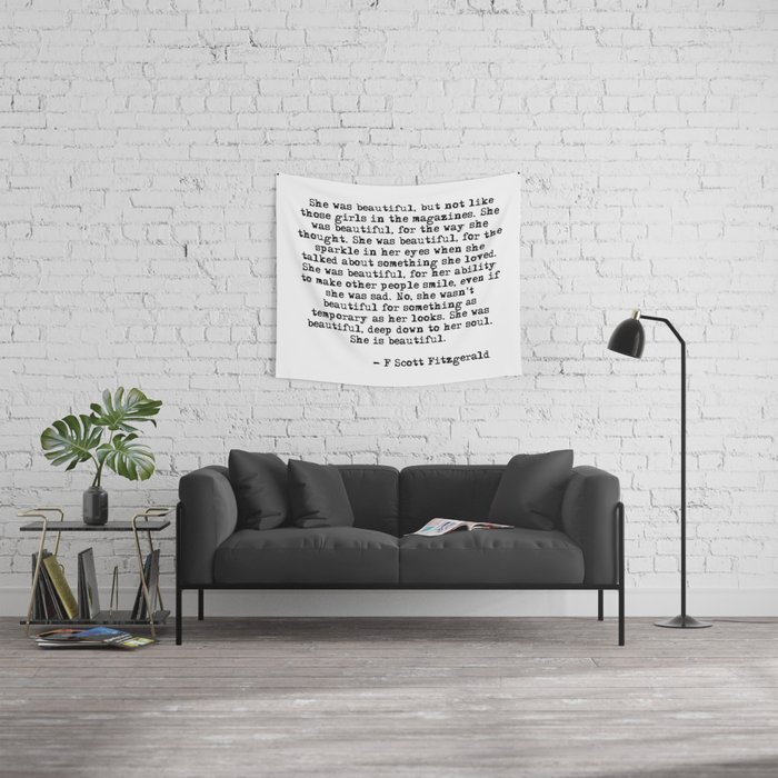 She was beautiful - Fitzgerald quote Wall Tapestry