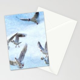 Gulls In Flight Watercolor Stationery Cards
