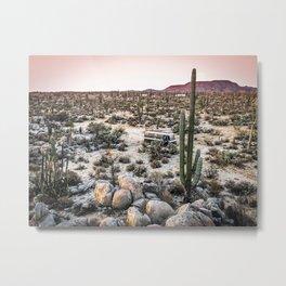 Desert Landscape with Cactus & Van | Baja California Metal Print