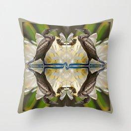 Cormorant & Bee Throw Pillow