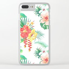 tropical watercolor floral pattern Clear iPhone Case